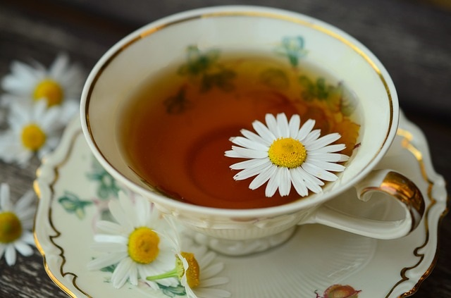 A cup of chamomile tea with chamomile flowers.