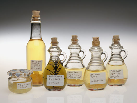 Bottles of herbal medicine and oinments