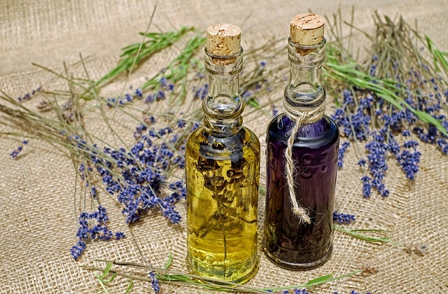 Lavender essential oils for natural skin care.