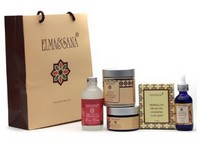 A gift bag of organic beauty products
